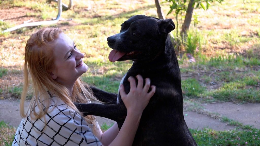 Amber is reunited with her dog Ruby